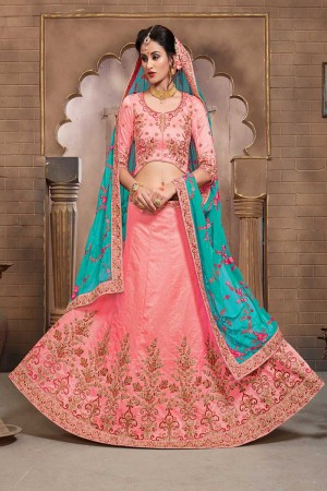 Dazzling Salmon Mulberry Silk Designer Heavy Embroidery Work Lehenga Choli