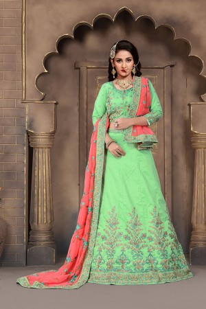 Awesome Apple Green Mulberry Silk Designer Heavy Embroidery Work Lehenga Choli
