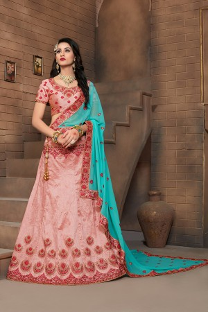 Eye catching Peach Mulberry Silk Designer Heavy Embroidery Work Lehenga Choli