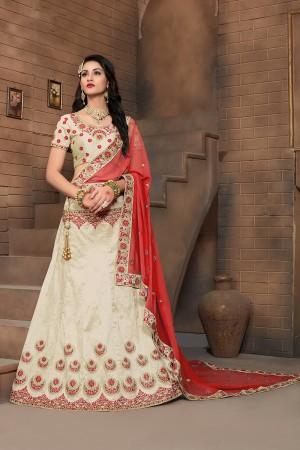 Tremendous Off White Mulberry Silk Designer Heavy Embroidery Work Lehenga Choli