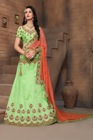 Elegant Apple Green Mulberry Silk Designer Heavy Embroidery Work Lehenga Choli