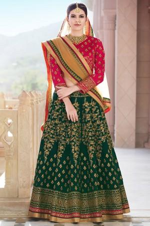 Aesthetic DarkGreen Banglori Silk Designer Heavy Embroidery Lehenga Choli