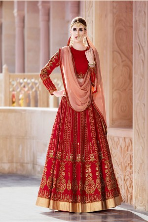 Beauteous Red Malburry Silk Designer Heavy Embroidery Lehenga Choli