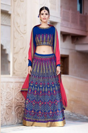 Amiable Blue Banglori Silk Designer Heavy Embroidery Lehenga Choli