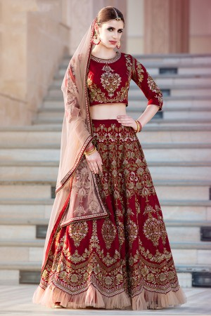 Adorable Maroon Banglori Silk Designer Heavy Embroidery Lehenga Choli