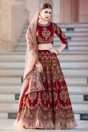 Adorable Maroon Banglori Silk Designer Heavy Embroidery Lehenga Choli