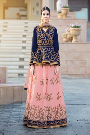 Dashing Peach Banglori Silk Designer Heavy Embroidery Lehenga Choli