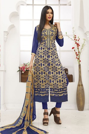 Vibrant Blue Cotton Heavy Embroidery on Neck with Lace Border Dress material