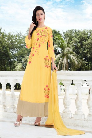 Peppy Yellow Georgette Heavy Embroidery on Neck and Sleeve Semi Stitch Salwar Kameez