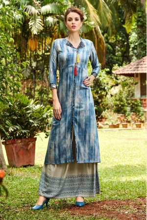 Attractive Blue Rayon Printed Rayon Kurti with Printed Plazzo