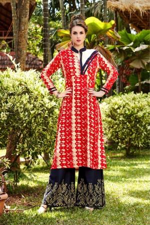 Stunning Red Rayon Printed Rayon Kurti with Printed Plazzo