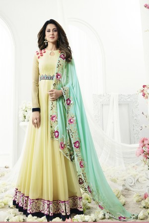 Jennifer Winget Engrossing Yellow Georgette Floor Length Resham and Applic Flower Work with Four Side Embroidery Work Dupatta Semi Stitch Anarkali Suit