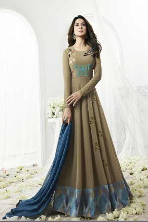 Jennifer Winget Ambitious Walnut Georgette Floor Length Anarkali with Digital Print Lace Border and Butterfly Work Semi Stitch Anarkali Suit