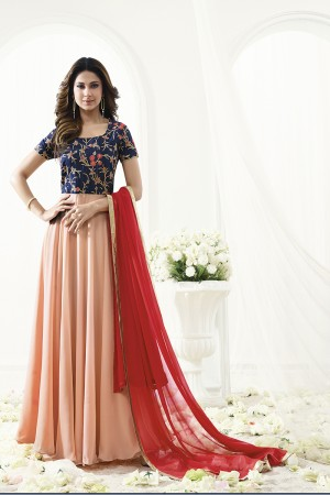Jennifer Winget Astounding Orange Georgette Floor Length Anarkali with Reshan, Zari and Sequin Work Semi Stitch Anarkali Suit
