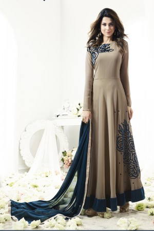 Jennifer Winget Ravishing Chocolate Georgette Floor Length Anarkali with Bias Cut  Semi Stitch Anarkali Suit