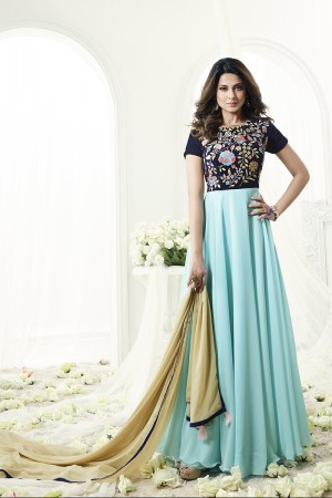 Jennifer Winget Divine Skyblue Georgette and Velvet Floor Length Anarkali with Resham Embroidery Work Semi Stitch Anarkali Suit