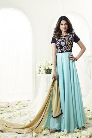 Jennifer Winget Divine Skyblue Georgette and Velvet Floor Length Anarkali with Resham Embroidery Work Semi Stitch Anarkali Suit