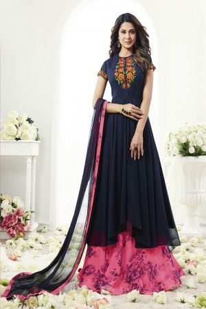 Jennifer Winget Classic Dark Blue Georgette Georgette Printed Skirt with Resham Emboidery Work with Diamond on Neck Side Semi Stitch Anarkali Suit