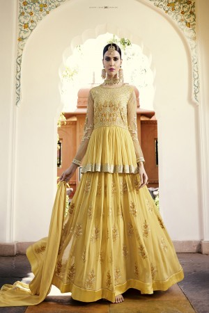 Royal Yellow Georgette Heavy Embroidery on Sleeve and Butta Work in Lehenga Semi Stitch Anarkali Suit