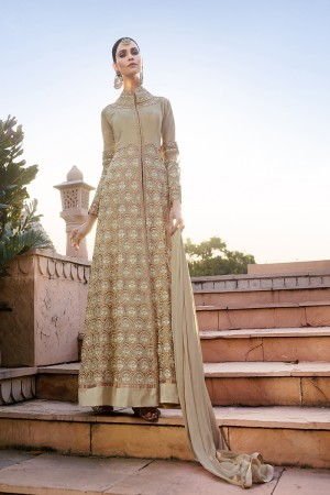 Graceful Chiku Georgette Heavy Embroidery Zari Work with Diamond Semi Stitch Anarkali Suit