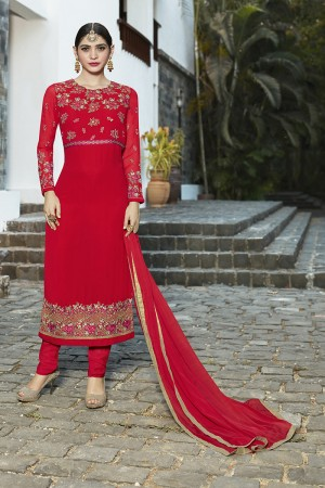 Elegant Red Georgette Heavy Embroidery on Neck and Sleeve with Lace Border Semi Stitch Stright Suit