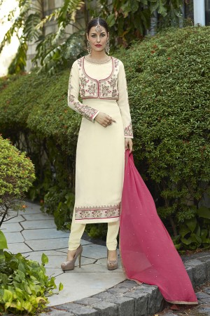 Dynamic Cream Georgette Heavy Embroidery on Neck and Sleeve with Lace Border Semi Stitch Stright Suit