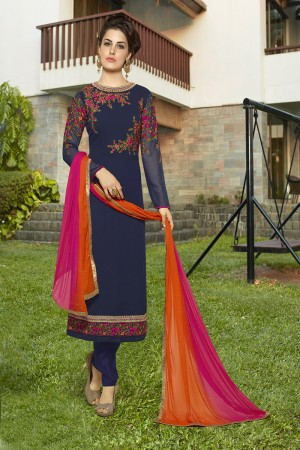 Outstanding Blue Georgette Heavy Embroidery on Neck and Sleeve with Lace Border Semi Stitch Stright Suit