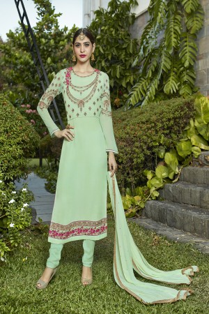 Delusive Cyan Georgette Heavy Embroidery on Neck and Sleeve with Lace Border Semi Stitch Stright Suit