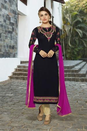 Blooming Black Georgette Heavy Embroidery on Neck and Sleeve with Lace Border Semi Stitch Stright Suit
