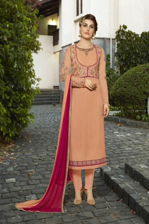 Enigmatic Orange Georgette Heavy Embroidery on Neck and Sleeve with Lace Border Semi Stitch Stright Suit
