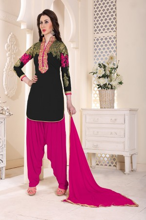 Sensuous Black Geordette Heavy Embroidery on neckline and sleeve  Dress material