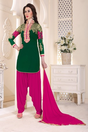 Aesthetic Green Geordette Heavy Embroidery on neckline and sleeve  Dress material