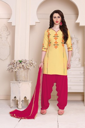 Amiable Yellow Cotton Heavy Embroidery on neckline and sleeve  Dress material