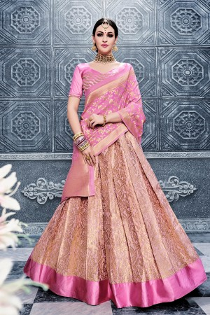 Splendiferous Pink Banarasi Silk Designer Weaving Lehenga with Embroidery Blouse Lehenga Choli