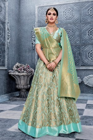 Attractive Sky Blue Banarasi Silk Designer Weaving Lehenga with Embroidery Blouse Lehenga Choli