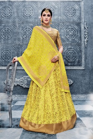 Graceful Yellow Banarasi Silk Designer Weaving Lehenga with Embroidery Blouse Lehenga Choli