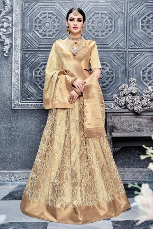 Fabulous Cream Banarasi Silk Designer Weaving Lehenga with Embroidery Blouse Lehenga Choli