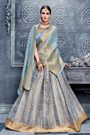 Enthralling Light Blue Banarasi Silk Designer Weaving Lehenga with Embroidery Blouse Lehenga Choli