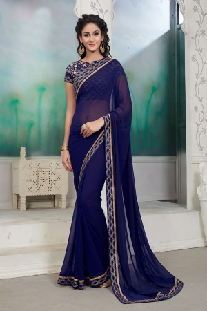 Astounding Navy Blue Mose Chiffon Sequance Embroidery Lace Border with Embroidery Blouse Saree with Blouse