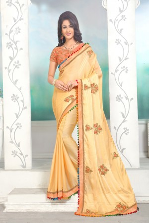 Ravishing Creamy Yellow Mose Chiffon Embroidery Patch Work with Embroidery Blouse Saree with Blouse