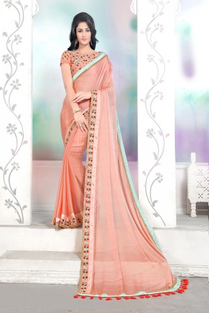 Divine Peach Mose Chiffon Thread Embroidery Lace Border with Embroidery Blouse Saree with Blouse