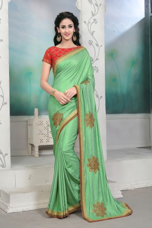 Classic Green Silk Embroidery Patch Work with Embroidery Blouse Saree with Blouse