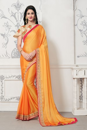 Classy Yellow Mose Chiffon Thread Embroidery Lace Border with Embroidery Blouse Saree with Blouse