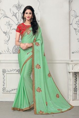 Desirable Light Green Mose Chiffon Embroidery Patch Work with Embroidery Blouse Saree with Blouse
