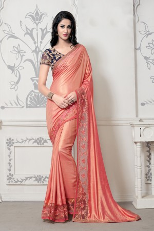 Designer Peach Silk Thread Embroidery Lace Border with Embroidery Blouse Saree with Blouse