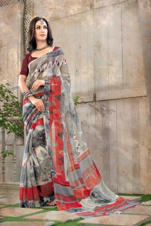 Mind Blowing Multi Color Chiffon Printed Saree with Blouse