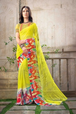 Blissful Yellow Chiffon Printed Saree with Blouse