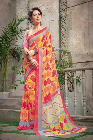Charismatic Multi Color Chiffon Printed Saree with Blouse