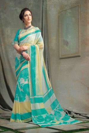 Pleasant Multi Color Chiffon Printed Saree with Blouse