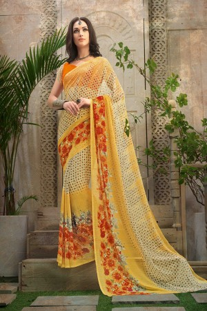 Rust Yellow Chiffon Printed Saree with Blouse